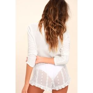 Lulu's Shorts - Sleeping In Sheer White Embroidered Shorts